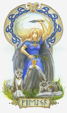 Freyja, Norse goddess of sex. Daughter of Njord and her twin brother was Freyr. Power over the dead and rode a chariot drawn by cats. Husband of Od. Shown with a necklace she got by sleeping with four dwarves in turn - the makers of the necklace. Could turn into a bird.