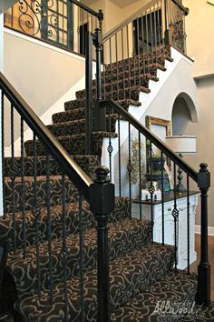 We just put a gray patterned carpet on both our stairs and in the hallway. We got rid of the brown carpet and put in to a gray carpet from Shaw Flooring. Plush Carpet, Diy Carpet, Wall Carpet, Bedroom Carpet, Living Room Carpet, Carpet Ideas, Cheap Carpet, Brown Carpet, Beige Carpet