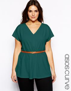 ASOS CURVE - Top With V-Neck Top With Belt