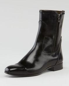 ShopStyle: Lanvin Cap-Toe Flat Leather Boot