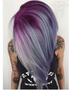 mechas californianas, Balayage Peinados con Cabello lacio - Rosa, Amatista Púrpura y de Plata
