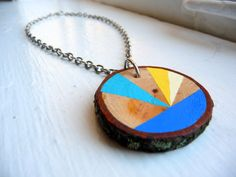 BEACHY WAVES--statement necklace jewelry, chunky statement jewelry, geometric wooden necklace, geometric wood necklace, chunky wood necklace