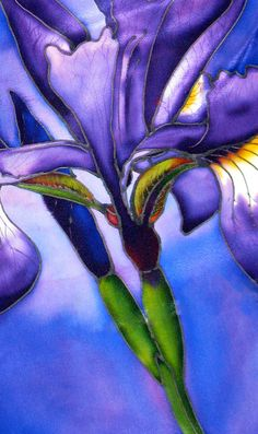 Silk Scarf or wallhanging. Blue Flag Iris. Hand-painted. Free gift wrapping. $79.00, via Etsy.