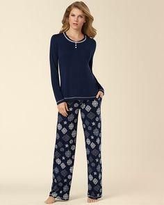 Soma Intimates Embraceable Pajama Set Ornate Snowflake  Embraceable Pajama Set Dwelling Blackberry #somaintimates