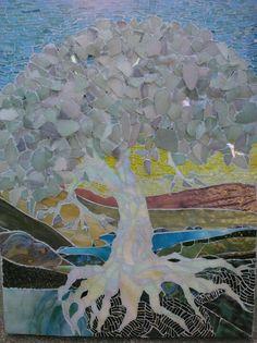 "Mosaic ""Tree of Life in Winter"" white tree                  #mosaic #mosaictrees #mosaicart"