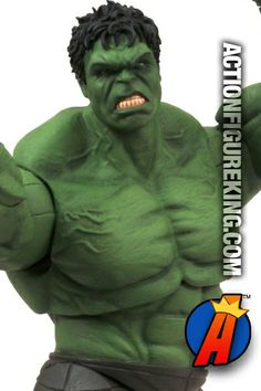 Marvel Select Avengers Movie Hulk action figure from Diamond Select Toys. Hulk stands 8-inches tall in the 7-inch scale line. Fully articulated and based on the look of the Incredible Hulk as seen in the Avengers film. #hulk #avengers #actionfigures #marvelselect
