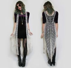 Vintage Ivory Crochet Bohemian Shawl with Fringe // 70s Hippie Crochet Knit Cape Long Vest // Woven Vest // boho crochet vest
