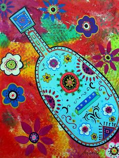 mexican folk art guitars. might be a great art project idea.