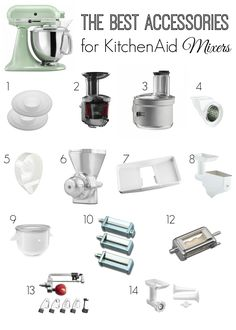 Best Accessories for KitchenAid Mixers If you have a KitchenAid stand mixer, you'll love this list of the best accessories to transform your mixer into a sausage stuffer, spiralizer, and more! Kitchen Aid Recipes, Kitchen Hacks, Kitchen Gadgets, Kitchen Tools, Cooking Gadgets, Cooking Tools, Kitchen Ideas, Mélangeur Kitchenaid, Kitchenaid Attachments