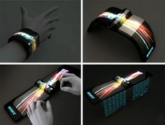 Wrist computer. Projects screen onto any surface with a foldout flexible keyboard.