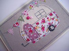 Handmade Machine Embroidered Card Retro Caravan Design on Linen, Birthday Card ,