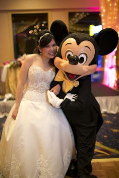 Bride and Mickey - Disneyland Wedding {Sarina Love Photography}