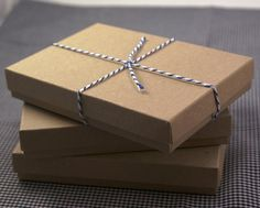 Set of 10 Sturdy Kraft Brown 5 1/4 x 3 3/4 x 7/8 cotton filled gift boxes & lids - necklaces, cards, stationary sets, photos, small albums