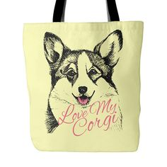 Corgi Tote Bag with 5 Color choices.  Love My Corgi Large Tote Bag make a great gift for any Corgi Mom.  All Corgi Lovers will love this Tote Bag. Vist our shop for matching Coffee Mugs and Necklaces https://www.etsy.com/shop/CaliKays  -------------------------------------------------------  Design printed on front and back 18 x 18 Tote Bag 100% spun polyester poplin fabric 1 inch wide cotton shoulder strap Black fabric lined Dry or Spot Clean Only   ----------------------...