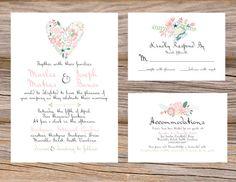 Rustic Botanical Garden Floral Wedding Invitation Suite DIY Printable Custom Invitation, RSVP, and Accommodation Insert Cards on Etsy, 29,89€