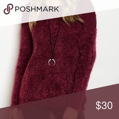 Stunning fuzzy burgundy sweater ❤️️ LAST ONE We all love a lush soft fuzzy sweater- nice length- warm deep burgundy sweater💕 Sweaters