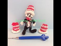 3D HAT (Cat in the Hat) made with a hook. See separate Pin for the Cat in the Hat figure. Designed and loomed by Looming WithCheryl. Click photo for YouTube tutorial. 07/01/14.