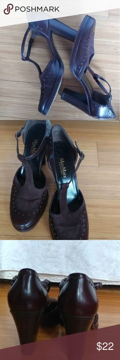 32ce142171b2 MaxMara T-Strap Brown Heels Gently used leather with suede accent with  minor discoloration on