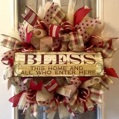 """Beautiful 24"""" round tan, burgundy, green deco mesh everyday wreath with metal """"God bless this home and all that enter here"""" sign."""