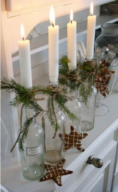 decoration noel bougeoirs bouteille branche sapin
