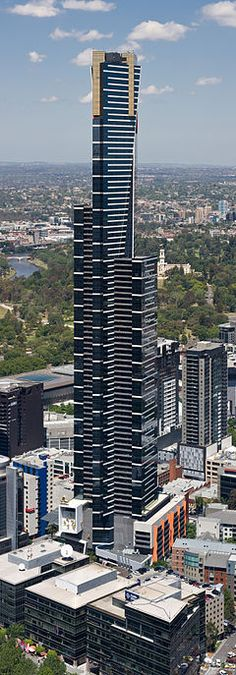 Eureka Tower is a 297.3-metre (975 ft) skyscraper located in the Southbank precinct of Melbourne, Victoria, Australia. Construction began in August 2002 and the exterior completed on 1 June 2006. The plaza was finished in June 2006 and the building was officially opened on 11 October 2006.