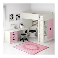IKEA - STUVA, Loft bed with 4 drawers/2 doors, white/pink, , You can assemble the desk parallel, perpendicular, or complete with 2 ADILS legs for a free-standing desk.