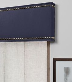 as shown: cornice with nailheads   cotton   navy