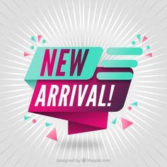 Origami new arrival confetti background Free Vector Label Design, Flyer Design, Logo Design, Vector Design, Design Design, Social Media Poster, Social Media Design, Creative Advertising, Advertising Design