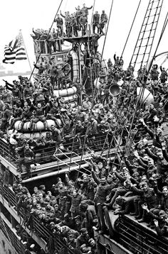 American troops frantically wave after returning home from France.  New Jersey, 1919. LIFE