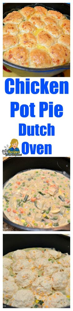 This Chicken/Turkey Pot Pie with Garlic Drop Biscuits is all made in one Dutch Oven. I will never make a chicken pot pie any other way. Crock Pot Slow Cooker, Slow Cooker Recipes, Crockpot Recipes, Chicken Recipes, Cooking Recipes, Budget Recipes, Soup Recipes, Dutch Oven Chicken, Dutch Oven Cooking
