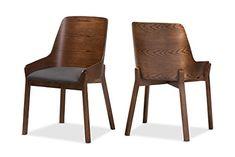 Baxton Studio Beatta Mid-Century Modern Walnut Wood Dark Grey Fabric Dining Chair