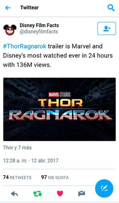 """Thor: Ragnarok trailer is Marvel and Disney's most watched ever in 24 hours with 136M views"" https://twitter.com/disneyfilmfacts/status/851924991956340736"