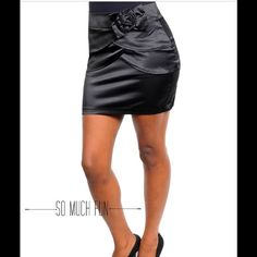 Black Satin-Flower Skirt Super feminine black satin mini skirt.. 55% Cotton, 42% Polyester, 3% Spandex. Lovely with different color tops! Available in Medium too, please ask me! This closet does not trade or use Paypal, thank you! ) Have & Have Skirts