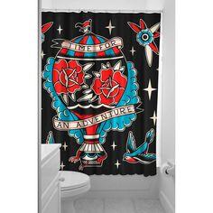 Sourpuss Adventure Shower Curtain Black Hot Air Balloon Traditional Tattoo Art