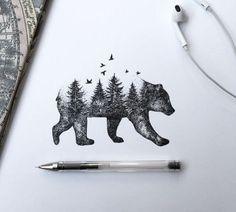 Bear forest tattoo