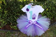 Aqua, lavender and purple traditional tulle tutu with a 1 and cupcake shirt and matching headband.
