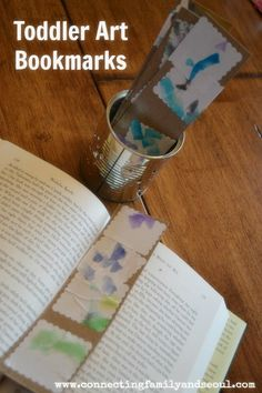 Connecting Family and Seoul: Toddler Art Bookmarks ~ An easy homemade Christmas gift (great for the grandparents and relatives since it displays your child's artwork!) I want one...