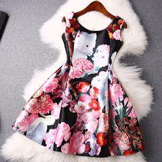 Color printing round neck sleeveless vest dress ER30414PO