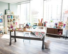 For quilters, shorter days and cooler temps can only mean one thing: time to dust off the machine, bust out the fabric stash and settle back into your craft. With holiday gift prep on our minds, we teamed up with designer and author Nancy Smith for ideas to make your quilting space as inspiring (and useful!) as possible.