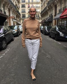 Camel rollneck chez #CrimsonCashmere (stolen from the men's collection) #Acne Studio white vintage jean #Chanel ballet flats #Hermès belt with Cold Wacky Weather!!!
