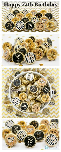 Celebrate this special birthday milestone with these gold and black birthday party favor stickers that will be a sure hit at your party. Designed to fit perfectly on the bottom of Hershey kisses Happy 75th Birthday, 75th Birthday Parties, Adult Birthday Party, 80th Birthday, Birthday Party Favors, Birthday Celebration, Special Birthday, Grandma Birthday, 75 Birthday Ideas