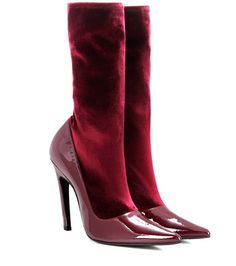 Balenciaga Velvet And Patent Leather Boots For Spring-Summer 2017