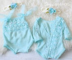 Lace Romper, Baby Props,Baby Photography,Newborn Photography,Lace Prop,Blue Romper,Pastel,Neutral Props,Lace Overalls,Aqua,Zoraya Baby Props