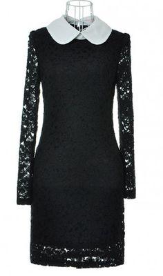 Lapel lace Slim waist was thin long-sleeved dress. elegent dress