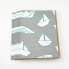 set of six boats pattern greetings cards by sparrow + wolf | notonthehighstreet.com
