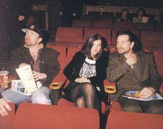 Edge, Ali and Bono -- third wheeling HARD. U2 Zooropa, Bono U2, Ali Hewson, Larry Mullen Jr, Henry Rollins, Adam Clayton, U 2, Courtney Love, Living Legends