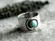 Anillo turquesa anillo de plata esterlina de por AndewynDesigns