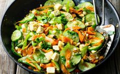<p>Sautéed and tossed in a gingery and garlicky dressing, cucumber and…