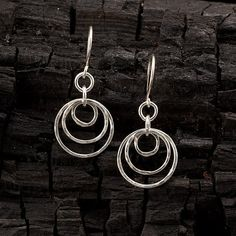 Handmade Sterling Silver Earrings Hammered Silver Hoop