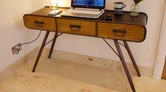 Console vintage bois et métal tiroirs refe console